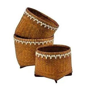 Conjunto 3 Cestos de Bambu c/ Conchas