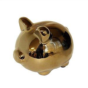 Porco de Cerâmica Dourado