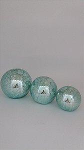 Trio de Bolas Decorativas Aqua