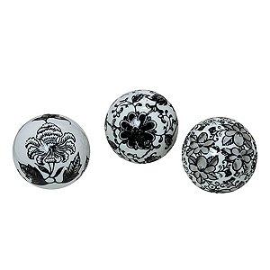 Conjunto 03 bolas Preto e Branco