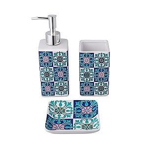 Conjunto p/ banheiro Ladrilho Azul - 3 peças