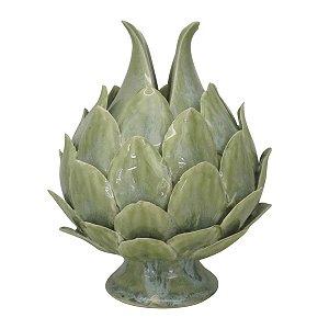 Pinha verde em cerâmica 17,5cm