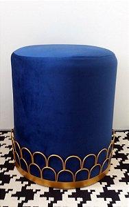 Puff Veludo Azul c/ Ondas Metal Dourado