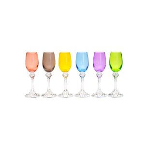Conjunto 6 Taças p/ Licor Elisa Coloridas 65ml