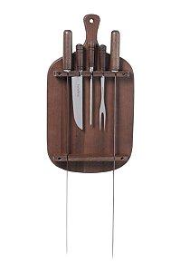 Jogo de churrasco em madeira 12cm