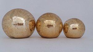 Trio de Bolas Decorativas Dourado