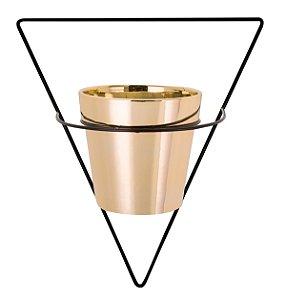 Vaso Dourado 10cm c/ suporte