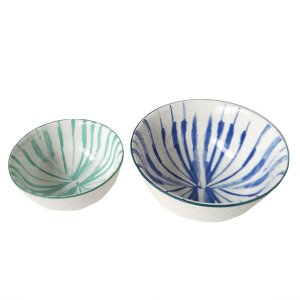 Conjunto de Bowls Branco, Verde e Azul - 2 Peças