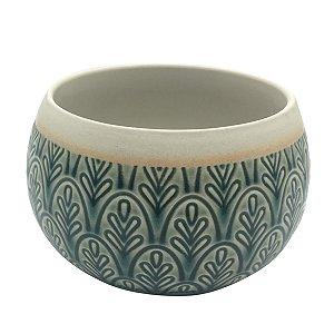 Vaso Cerâmica Verde e Areia 9cm