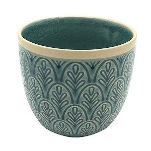 Vaso Cerâmica Verde e Areia 12cm