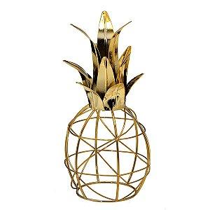 Abacaxi Decorativo Metal Dourado