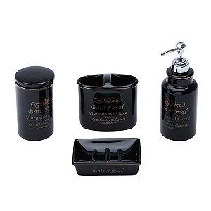 Conjunto p/ Banheiro Royal Preto - 4 peças