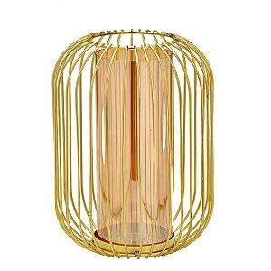 Candelabro Dourado c/ Vidro 26cm