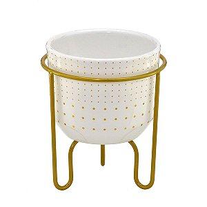 Vaso Branco c/ Suporte Dourado 15cm