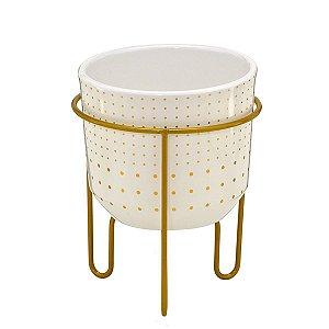 Vaso Branco c/ Suporte Dourado 18cm