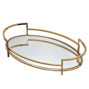 Bandeja Oval Metal Dourado