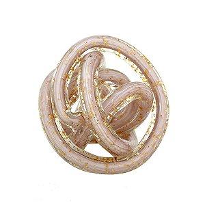 Bola Decorativa Rosa Claro c/ Dourado 9cm