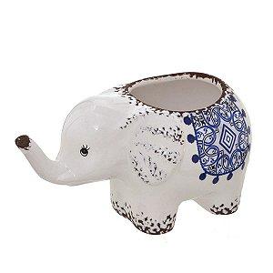 Cachepot Elefante Decorativo Branco c/ Azul 17cm