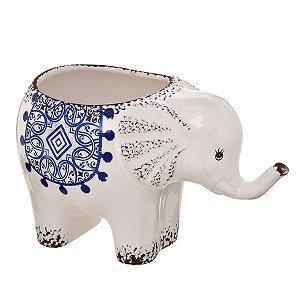 Cachepot Elefante Decorativo Branco c/ Azul 26cm