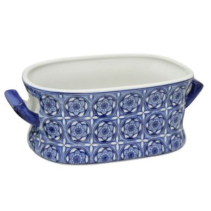 Cachepot Retangular Decorativo Azul e Branco