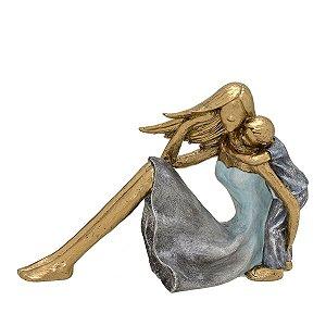 Mãe com Filho Decorativo Dourado e Cinza 22cm