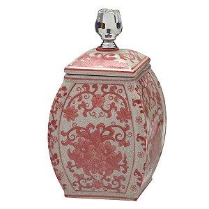 Pote Decorativo Branco c/ Rosa 25,5cm