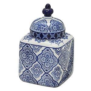 Potiche Quadrado Decorativo Branco c/ Azul 23cm