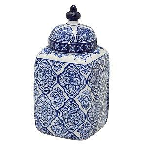 Potiche Quadrado Decorativo Branco c/ Azul 28cm