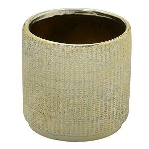 Vaso Cerâmica Dourado Decorativo 12cm