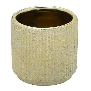 Vaso Cerâmica Dourado Decorativo 15cm