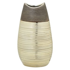 Vaso Decorativo Marrom c/ Dourado 27cm