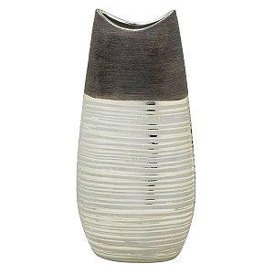 Vaso Decorativo Marrom c/ Dourado 35cm