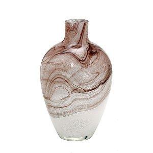 Vaso Decorativo Vidro Branco Roxo