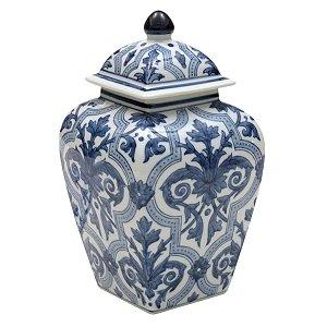 Potiche Decorativo Cerâmica Branco c/ Azul