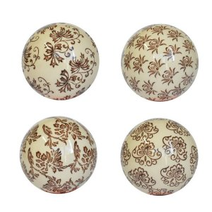 Conjunto 4 Bolas Decorativas Marrom