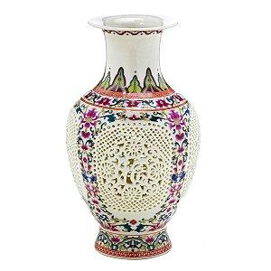 Vaso Cerâmica Colorido c/ Branco 24cm