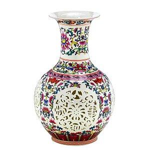 Vaso Cerâmica Colorido c/ Branco 25cm