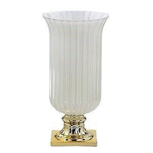 Vaso Taça Vidro Decorativo 30cm