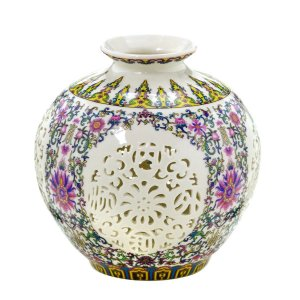 Vaso Cerâmica Colorido c/ Branco 18cm