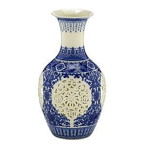 Vaso Cerâmica Azul e Branco 28cm
