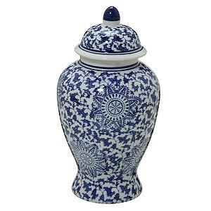 Potiche Decorativo Branco e Azul 28cm