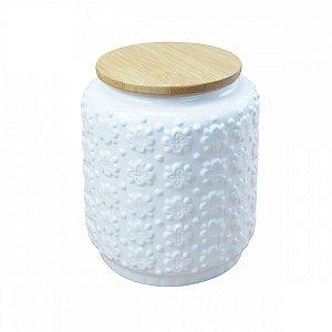 Pote Cerâmica Branco c/ Tampa 13cm BTC
