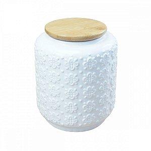 Pote Cerâmica Branco c/ Tampa 17cm BTC