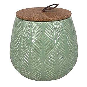 Pote Cerâmica Verde c/ Tampa 12cm BTC