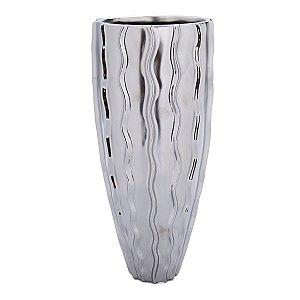 Vaso Cerâmica Prata 34cm Concepts
