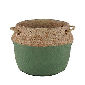 Vaso Decorativo c/ Alça Verde e Palha 15cm Rojemac