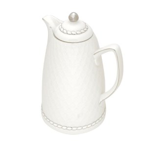 Garrafa Térmica Porcelana Branco e Prata 900ml Rojemac