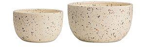 Kit Cachepot Cerâmica Areia 2 peças Mart