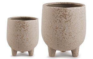 Kit Cachepot Cerâmica Nude 2 peças Mart