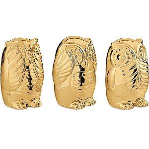 Kit Coruja Dourada 3 peças Mart